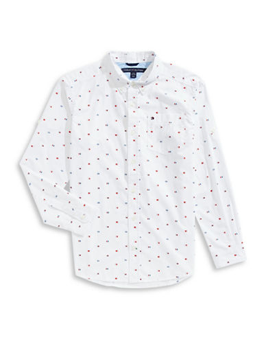 Tommy Hilfiger Flags Cotton Sport Shirt-WHITE-Medium