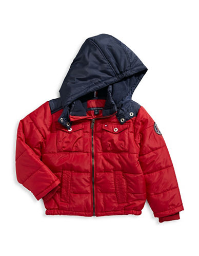 Tommy Hilfiger Contrast Puffer Jacket-RED-2-3