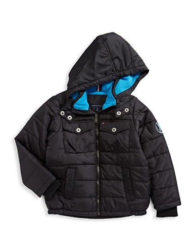 Tommy Hilfiger Contrast Puffer Jacket-BLACK-Medium