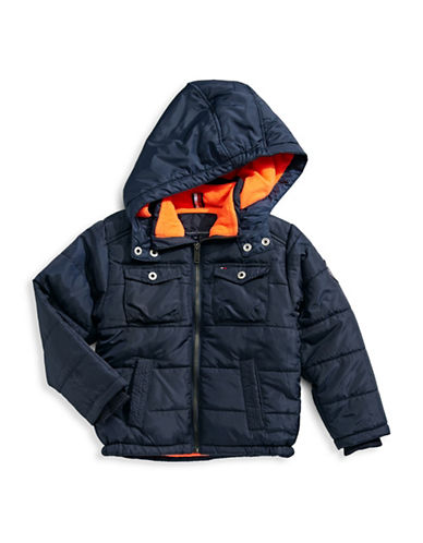 Tommy Hilfiger Contrast Puffer Jacket-BLUE-Medium