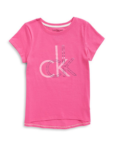 Calvin Klein Logo Cotton Tee-PINK-Medium