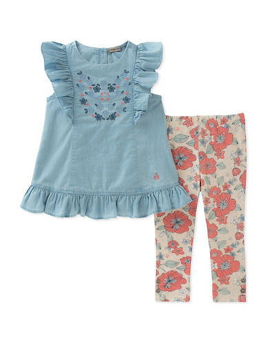 Calvin Klein Two-Piece Embroidered Tunic and Floral Leggings Set-ASSORTED-24 Months