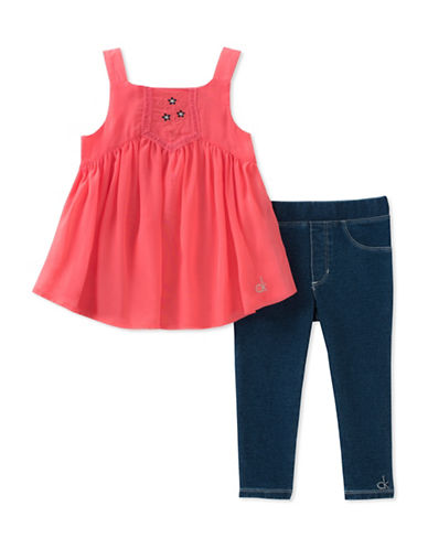 Calvin Klein Two-Piece Tunic and Denim Leggings Set-ASSORTED-12 Months