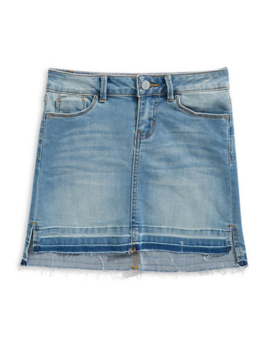 Calvin Klein Raw-Edge Denim Skirt-MED WASH-14