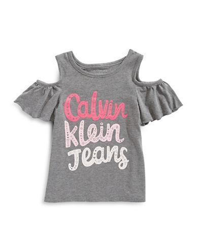 Calvin Klein Doodle Cold-Shoulder Tee-DK GREY-XLarge