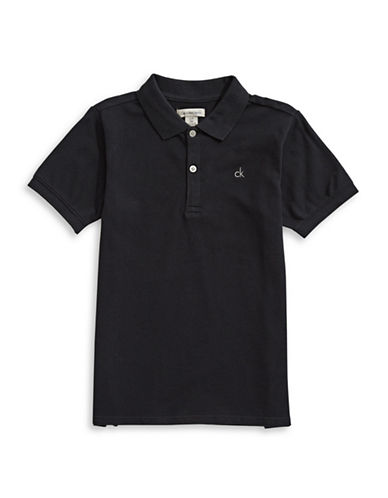 Calvin Klein Micro Pique Cotton Polo-BLACK-Large