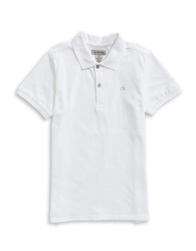 Calvin Klein Micro Pique Cotton Polo-WHITE-Small