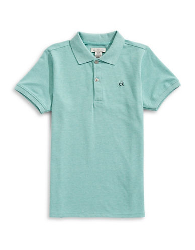 Calvin Klein Micro Pique Cotton Polo-BLUE-Small