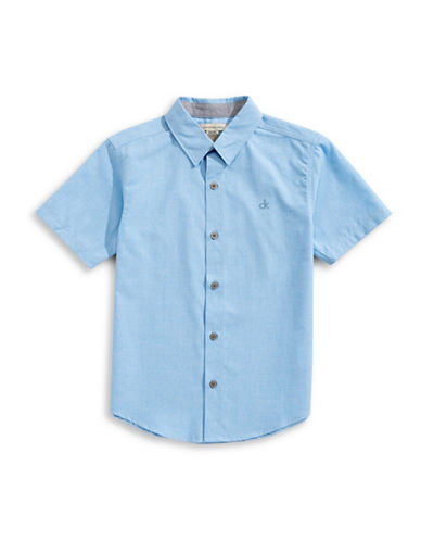 Calvin Klein Short-Sleeve Collared Shirt-MEDIUM BLUE-Medium