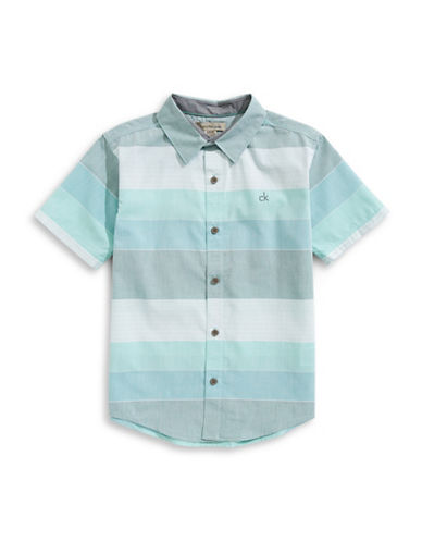 Calvin Klein Ethern Horizontal Stripe Collared Shirt-GREEN-Large