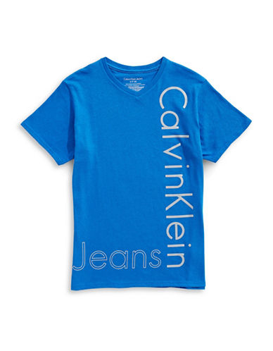 Calvin Klein New Icon V-Neck Tee-MEDIUM BLUE-Small