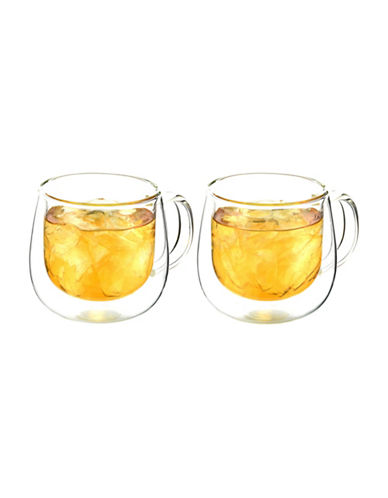 Grosche Fresno Double Walled Glass Cups with Handle-CLEAR-One Size