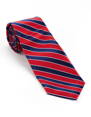 Tommy Hilfiger Core Stripe Silk Tie-RED-One Size