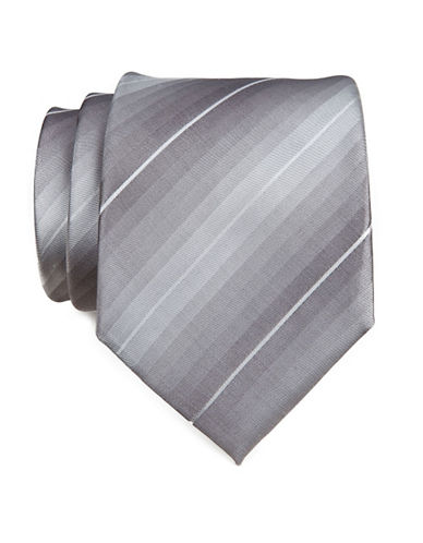 Kenneth Cole Reaction Solid Silk Tie-GREY-One Size