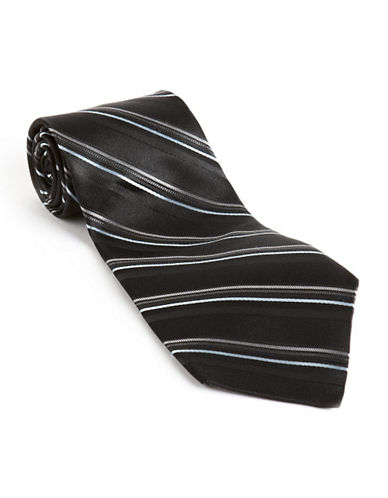 Calvin klein Textured Stripe Silk Tie black One Size