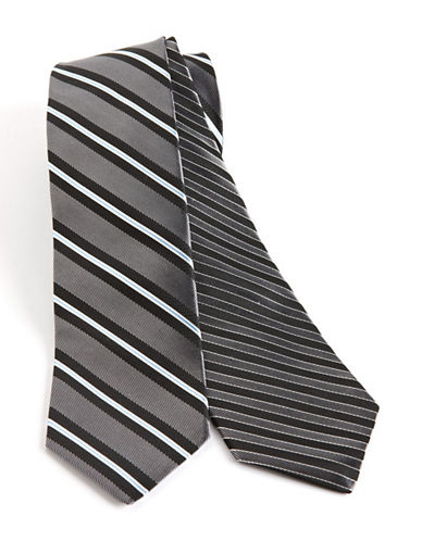 Nautica Border Stripe Silk Tie black One Size