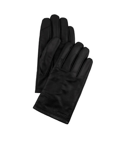 Calvin Klein Basic Leather Gloves-BLACK-X-Large