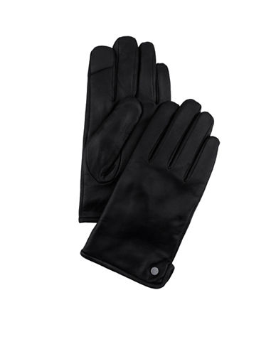 Calvin Klein Side-Vent Leather Gloves-BLACK-Large
