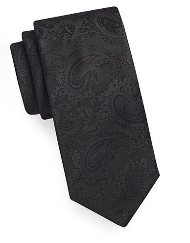Geoffrey Beene Tonal Paisley Tie-BLACK-One Size