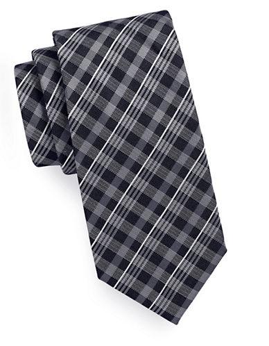 Geoffrey Beene Gingham Plaid Tie-BLACK-One Size