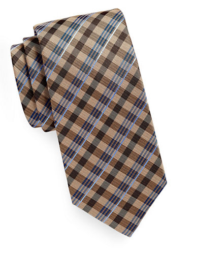 Geoffrey Beene Gingham Plaid Tie-TAUPE-One Size