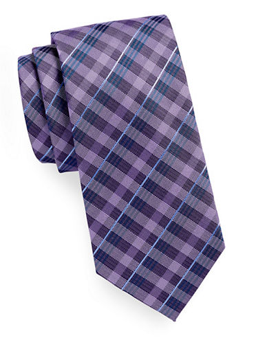 Geoffrey Beene Gingham Plaid Tie-PURPLE-One Size