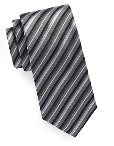 Geoffrey Beene Tonal Stripe Silk-Blend Tie-BLACK-One Size