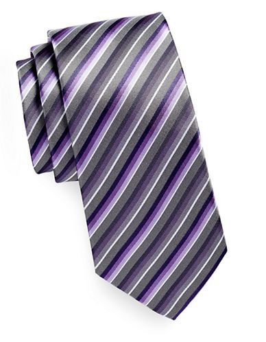 Geoffrey Beene Tonal Stripe Silk-Blend Tie-PURPLE-One Size