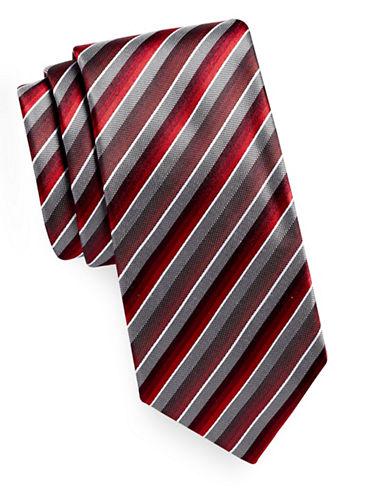 Geoffrey Beene Tonal Stripe Silk-Blend Tie-BURGUNDY-One Size