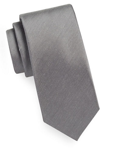Geoffrey Beene Solid Tie-GRAY-One Size