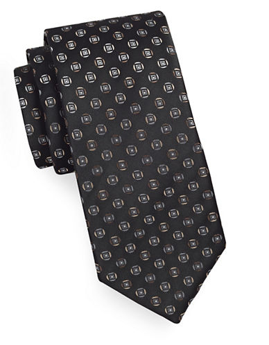 Geoffrey Beene Geo-Patterned Silk-Blend Tie-BLACK-One Size
