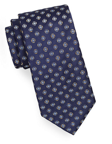 Geoffrey Beene Geo-Patterned Silk-Blend Tie-NAVY-One Size