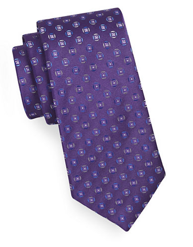 Geoffrey Beene Geo-Patterned Silk-Blend Tie-PURPLE-One Size