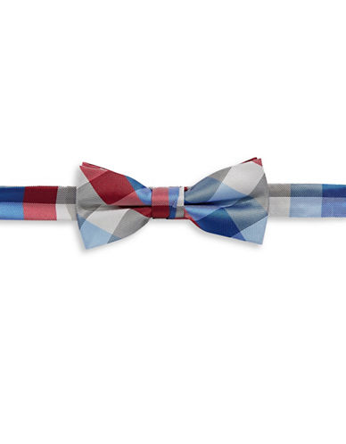 Tommy Hilfiger Plaid Pre-Tied Bow Tie-RED-One Size