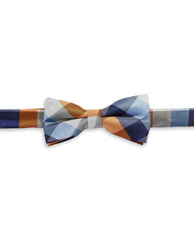 Tommy Hilfiger Plaid Pre-Tied Bow Tie-ORANGE-One Size