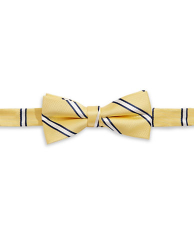 Tommy Hilfiger Striped Pre-Tied Bow Tie-YELLOW-One Size