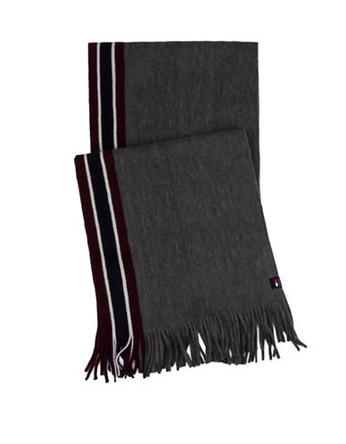 Tommy Hilfiger Border Striped Scarf-GREY-One Size