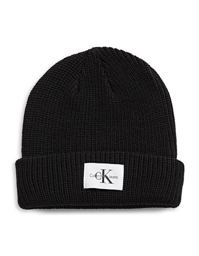 Calvin Klein Rib Knit Tuque-BLACK-One Size