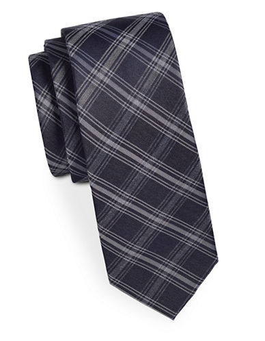 Kenneth Cole Reaction Plaid Slim Silk-Blend Tie-NAVY-One Size