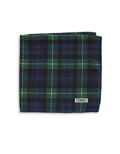 Ted Baker Endurance Wool Plaid Handkerchief-NAVY-One Size