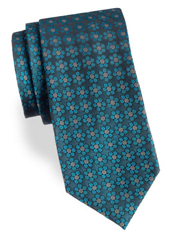 Arrow Floral Silk Tie-BLUE-One Size