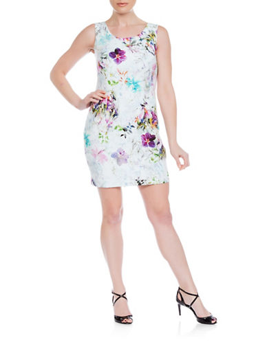 Sonia Arora Designs Floral Jacquard Tank Dress-WHITE MULTI-10