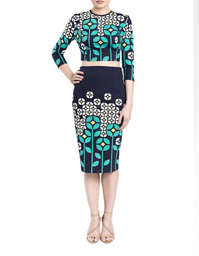Sonia Arora Designs Floral Stem Two-Piece Coordinate Set-BLUE-0