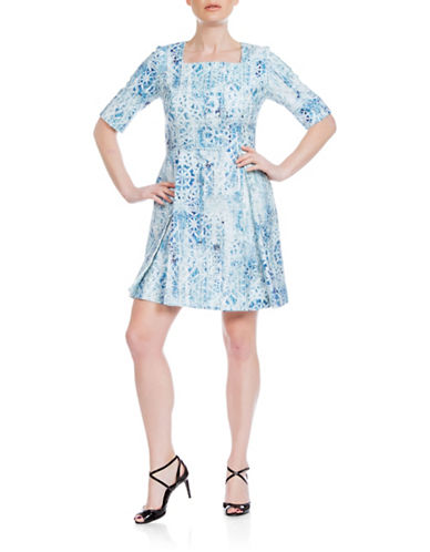 Sonia Arora Designs Nautical Jacquard A-Line Dress-BLUE-4