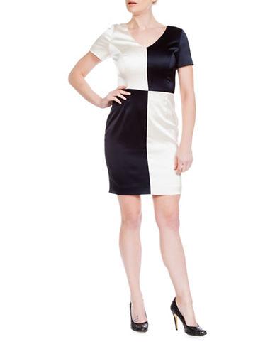 Sonia Arora Designs Checkerboard Satin Sheath Dress-NATURAL-2