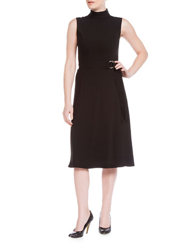 Sonia Arora Designs Belted Faille Turtleneck Dress-BLACK-2
