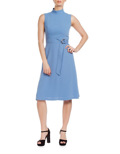 Sonia Arora Designs Belted Faille Turtleneck Dress-BLUE-10