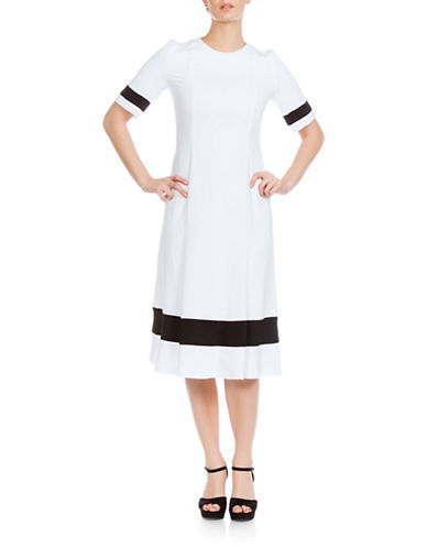 Sonia Arora Designs Long Faille Contrast Dress-WHITE-10