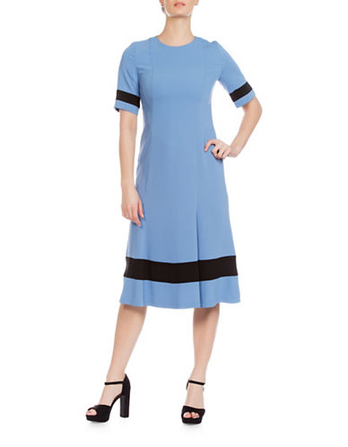Sonia Arora Designs Long Faille Dress-BLUE-10