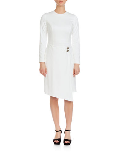 Sonia Arora Designs Asymmetrical A-Line Wrap Dress-WHITE-2